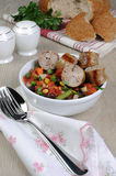Homemade sausages with vegetables Royalty Free Stock Photography