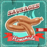 Homemade sausages vintage vector poster. Old paper textured background. Royalty Free Stock Image