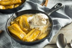 Homemade Sauteed Bananas Foster Stock Images