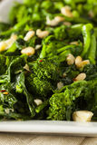 Homemade Sauteed Green Broccoli Rabe. With Garlic and Nuts Royalty Free Stock Image