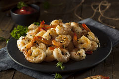 Homemade Sauteed Shrimp with Herbs Royalty Free Stock Photos