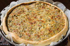 Homemade savory cake with courgette flowers Royalty Free Stock Photography