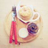 Homemade scone with strawberry jam Stock Photography