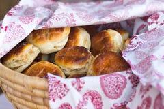 Homemade scones on the basket Stock Photos