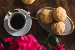 Homemade scones with cheese in rustic setting Stock Images