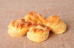 Homemade scones on sackcloth background Stock Photo
