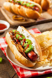 Homemade Seattle Style Hot Dog Stock Photos
