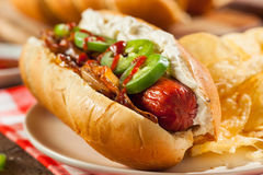 Homemade Seattle Style Hot Dog Royalty Free Stock Photo