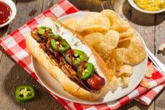 Homemade Seattle Style Hot Dog Stock Photos