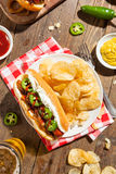 Homemade Seattle Style Hot Dog Royalty Free Stock Images