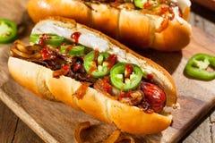 Homemade Seattle Style Hot Dog Stock Photo
