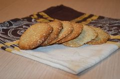 Homemade sesam`s cookies. royalty free stock photography