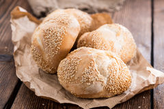 Homemade Sesame Buns. Some fresh made Buns topped with Sesame (close-up shot Royalty Free Stock Photo