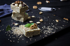 Homemade sesame burfi. Raw healthy vegan dessert. Royalty Free Stock Photos