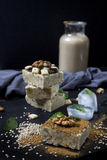 Homemade sesame burfi. Raw healthy vegan dessert. Royalty Free Stock Photo