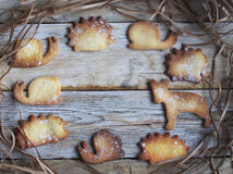 Homemade shape cookies. On the wood table Stock Photos
