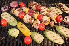 Homemade Shish Kabobs with Meat, Peppers, Tomatoes, Mushroms and Stock Images