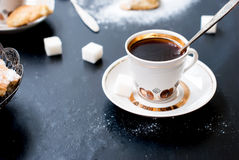 Homemade shortbread cookies and a cup of coffee Royalty Free Stock Photo