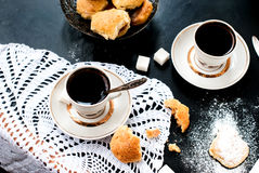 Homemade shortbread cookies and a cup of coffee Stock Image