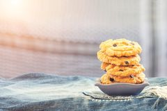 Homemade shortbread cookies on table background with copy space. Royalty Free Stock Images