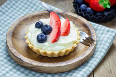 Homemade Shortbread Tartlets With Custard Cream, Strawberry And Blueberry Stock Photo