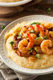 Homemade Shrimp and Grits. With Pork and Cheddar stock photos