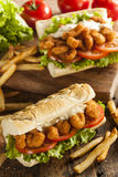 Homemade Shrimp Po Boy Sandwich Royalty Free Stock Image