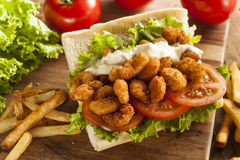 Homemade Shrimp Po Boy Sandwich Royalty Free Stock Photography