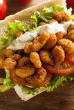 Homemade Shrimp Po Boy Sandwich Stock Photo