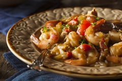 Homemade Shrimp and Sausage Cajun Gumbo Stock Images