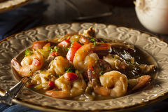 Homemade Shrimp and Sausage Cajun Gumbo Royalty Free Stock Photos