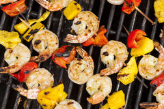 Homemade Shrimp Shish Kebab Stock Photos