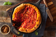 Homemade Skillet Deep Dish Chicago Pizza Stock Photos