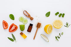 Homemade skin care and body scrubs with natural ingredients aloe Royalty Free Stock Photography