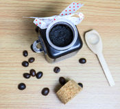Homemade skin coffee scrub for spa. Royalty Free Stock Photography