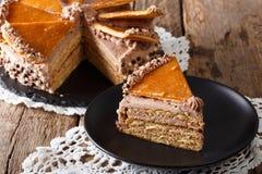 Free Homemade Slice Of Hungarian Dobosh Cake With Caramel Close-up. H Stock Image - 90302271