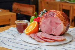 Homemade of Sliced Honey Gammon Ham with Orange, Cherry, Sweet Pepper and Honey Sauce Stock Photo