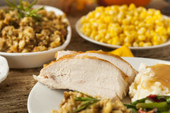 Homemade Sliced Turkey Breast. For Thanksgiving Dinner royalty free stock photos