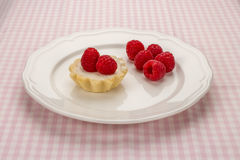 Homemade small cake with cream cheese and fresh raspberries in w. Homemade small cake with cream cheese and fresh garden raspberries in white porcelain plate on Royalty Free Stock Photo