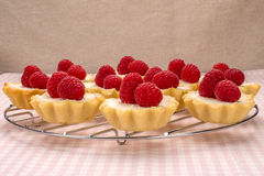 Homemade small cakes with cream cheese and fresh raspberries clo. Homemade small cakes with cream cheese and fresh garden raspberries close-up Royalty Free Stock Images