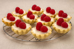 Homemade small cakes with fresh raspberries on a linen napkin. Homemade small cakes with cream cheese and fresh garden raspberries on a linen napkin Stock Photos