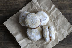 Homemade  small round cookies  on vintage wooden table Stock Images