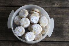 Homemade  small round cookies  on vintage wooden table Royalty Free Stock Photo