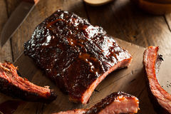 Homemade Smoked Barbecue Pork Ribs Royalty Free Stock Images