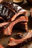 Homemade Smoked Barbecue Pork Ribs Royalty Free Stock Photo