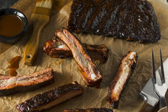 Homemade Smoked Barbecue St. Louis Style Pork Ribs stock image