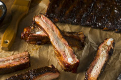 Homemade Smoked Barbecue St. Louis Style Pork Ribs Royalty Free Stock Photos