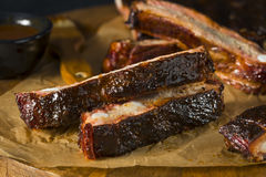 Homemade Smoked Barbecue St. Louis Style Pork Ribs Stock Photography