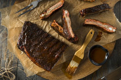 Homemade Smoked Barbecue St. Louis Style Pork Ribs. With Sauce stock photos