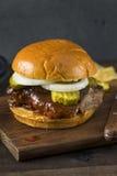 Homemade Smoked BBQ Rib Sandwich Stock Photo